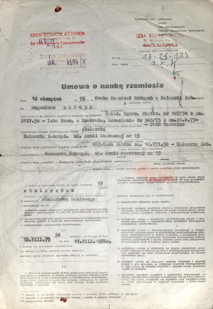 Eugeniusz Zadora umowa o naukę rzemiosła 1975